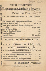 Advert for the Clifton Restaurant
